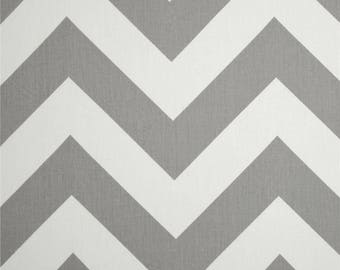 Pair, two 50W panels, designer rod pocket drapes, panels Zippy, large print zigzag chevron ash grey