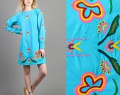 vintage 70s BLUE + RAINBOW hippie EMBROIDERED mini dress size / teal floral psychedelic boho mini dress 1970s 60s 1960s