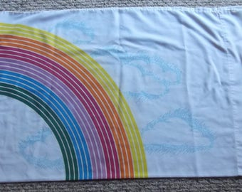 80s Rainbow  and Clouds Pillowcase