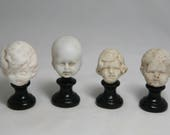 Miniature Busts with Antique German Bisque Doll Heads - Fun Display or Dollhouse Item - Choose One