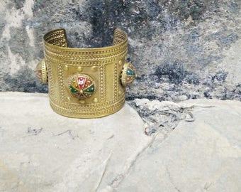 Vintage Hippy Jewelry. Brass Cuff/Bracelet. Indian Ethnic Arm Cuff. Cuff Bangle. Arm Cuff. 1970s Jewelry. Enamel Bangle. Indian Metal Cuff.