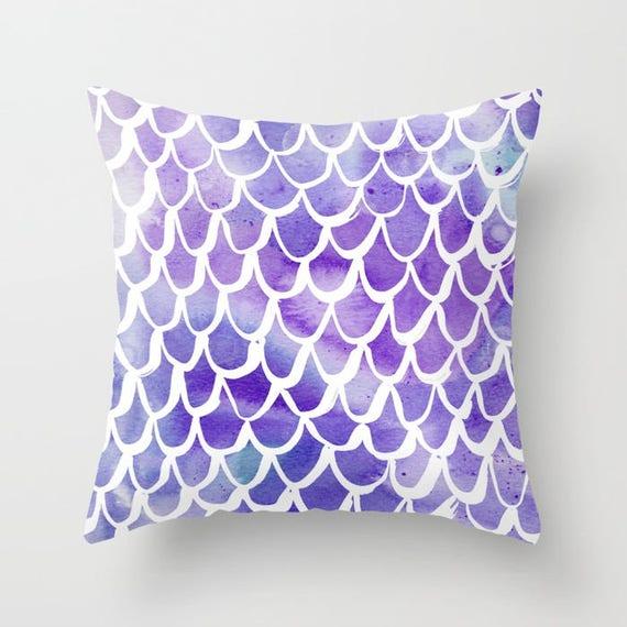 Mermaid Throw Pillow - Watercolor Pillow - Mermaid Cushion - Purple Pillow - Mermaid Tail Pillow - Watercolor Cushion 16 18 20 24 inch