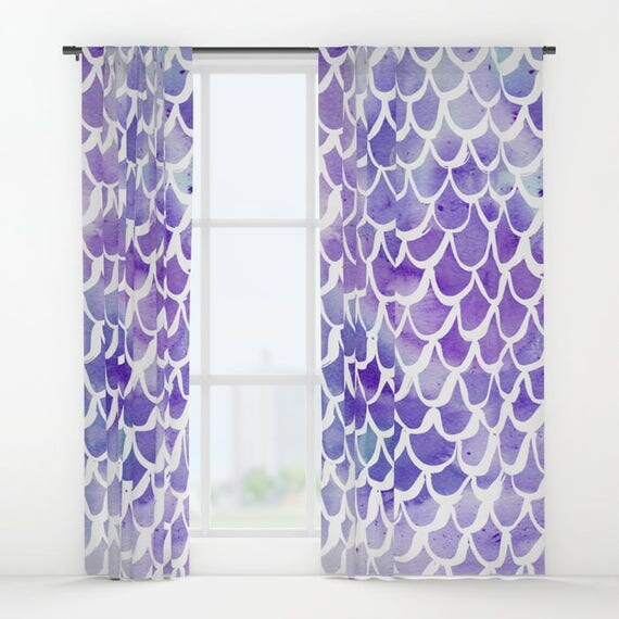 Mermaid curtains - Purple Curtains - Watercolor curtains - Window Curtains - Window Treatments - Curtain Panel - Drapes - Purple Watercolor