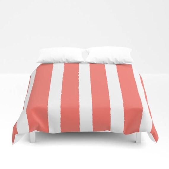 Coral and White Stripe Duvet cover -  Duvet cover - Coral bedding - Twin XL duvet - queen duvet cover - king duvet cover - full duvet