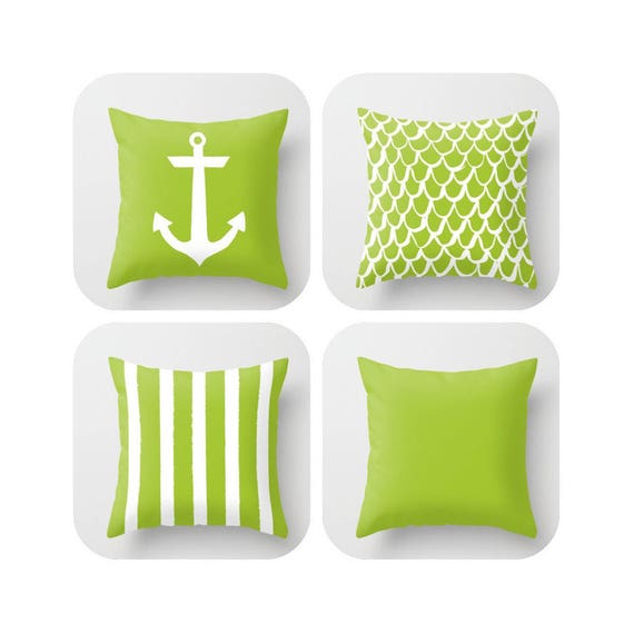 Lime Green Throw Pillow . Mermaid Pillow . Anchor Pillow . Coastal Pillow . Striped Pillow . Lime cushion . Throw Pillow 14 16 18 20 inch