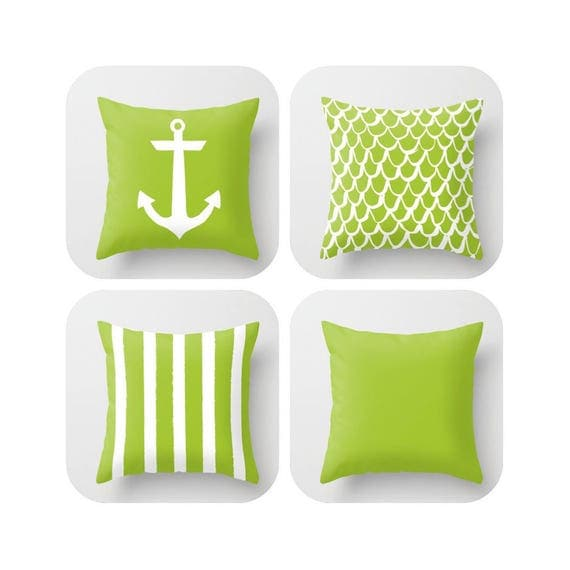 Lime Green Throw Pillow . Mermaid Pillow . Anchor Pillow . Coastal Pillow . Striped Pillow . Lime cushion . Throw Pillow 16 18 20 24 inch