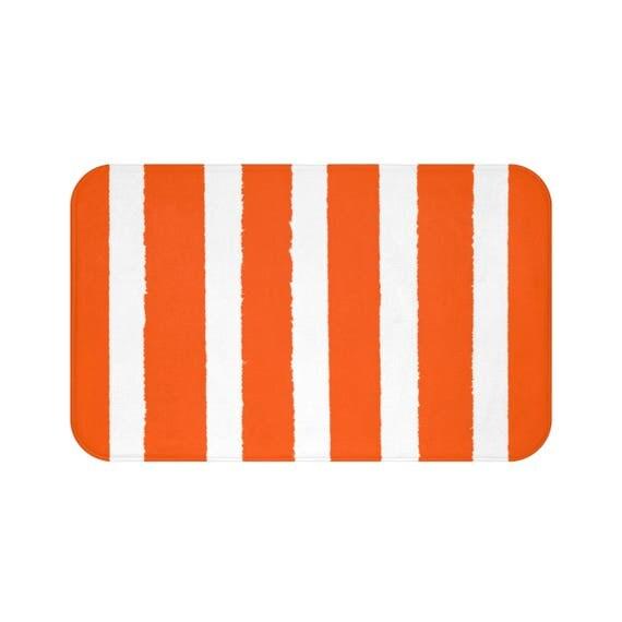 Bath Mat . Orange Bath Mat . Striped Bath Mat . Orange Bath Rug . Orange Shower Mat . Orange Striped Rug . Orange and White Striped Rug