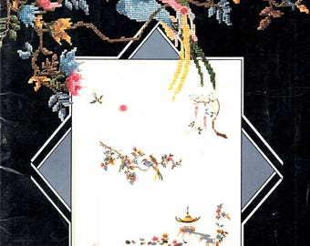 Oriental Splendor Pagoda Birds Wisteria Ponds Water Lilies Vase Flowers Pine Trees Counted Cross Stitch Embroidery Craft Pattern Leaflet 1