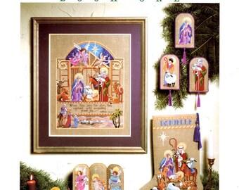 O Holy Night Manger Jesus Mary Joseph Lion Lamb Shepherd Three Kings Wise Men Counted Cross Stitch Embroidery Craft Pattern Leaflet 146