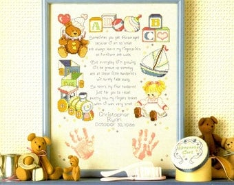 Baby Keepsakes Train Blocks Sailboat Hand Prints Birth Announcement Counted Cross Stitch Embroidery Craft Pattern Leaflet Leisure Arts 540