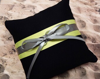 Fire fighter Black Bright Yellow Gray Satin bunker turnout gear Wedding Ring Bearer Pillow