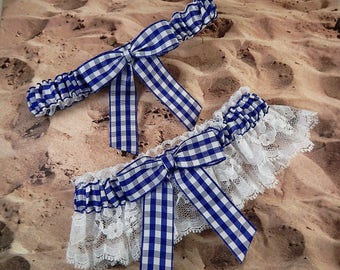 Royal Blue Gingham Check White Lace Country Wedding Wedding Garter Bridal Toss Set