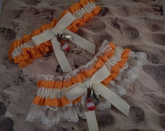 Fishing Orange LInen look IvoryTwill ivory lace Fish Bobber Charm Wedding Bridal Garter Toss Set