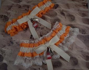 Fishing Orange LInen look IvoryTwill ivory lace Fish Bobber Charm Wedding Bridal Garter Toss Set