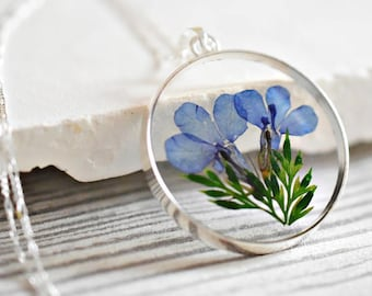 925 sterling silver necklace Real flowers