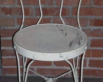 Vintage Ice Cream Parlor Bistro Chair White Twisted Metal Wood Seat