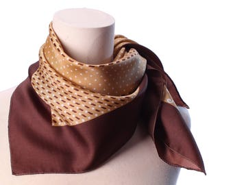 Polka Dot Scarf 70s Brown Beige Tan Color Neckwear Shawl  Mod Vintage Neck Scarf Unisex Kerchief Hipster Neckwear Christmas Gift Idea