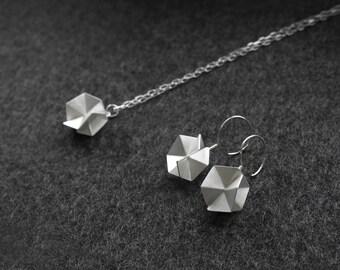 "Geometric Silver Jewelry Set, 18"" Geometric Pendant Necklace, Silver Drop Earrings, Silver Jewelry, Statement Jewelry Set"