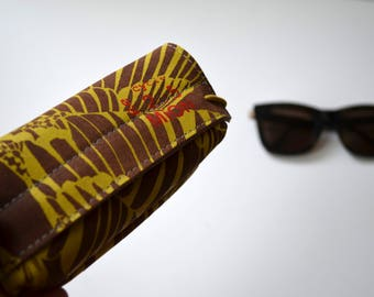 Leather case for pens or glasses (brown leather with yellow print)