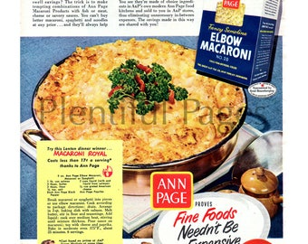 1951 A&P Vintage Ad, Advertising Art, Elbow Macaroni, Ann Page, 1950's Cooking, Macaroni Royal, 1950's Dinner, Great for Framing.