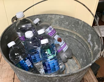 Galvanized Wash Tub Metal Bucket Pail Basin Farmhouse Farm House Rustic Prairie Country Home Pet washtub Ice Drink Cooler Barn Wedding