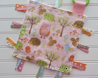 Pink Tag Blanket, Ribbon Lovey, Baby Girl Woodland Ribbon Blanket, Ribbon Tag Toy, Baby Girl Woodland Shower Gift