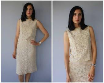 Vintage 1960s Crochet Skirt Set   1970s Dress   70s Dress   1970s Crochet Dress   60s Crop Top and Skirt - (small/med)