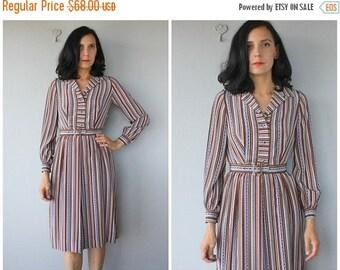 48 HR FLASH SALE Vintage 70s Dress   1970s Shirtdress   Silk Dress   Belted 70s Shirtdress   Vintage 1970s Dress    Vintage 70s Midi Dress
