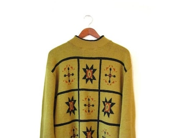 30% OFF Vintage 70s Oversized NORDIC Knit Sweater s m l
