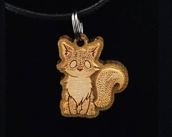 Fox necklace - Art Necklace - Wood necklace - Hand Drawn necklace - Nature necklace - Cute Animal necklace - Pendant necklace