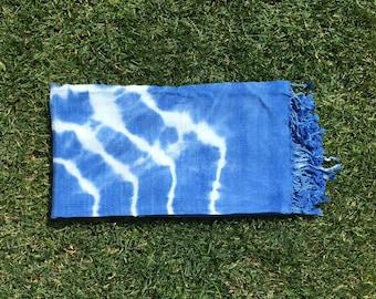 Bath Towel / Beach Towel , Turkish Bath Towel... Cotton PESHTEMAL White-Blue Batik