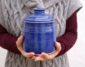 Lidded storage jar - ocean blue handmade stoneware kitchen canister