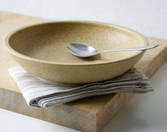 One hand thrown serving dish - shallow serving bowl in natural brown