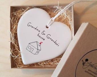 Grandparents ornament -  Grandma & Grandpa's House with hearts