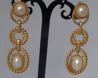Vintage 1980's Faux Pearl Drop  Earrings