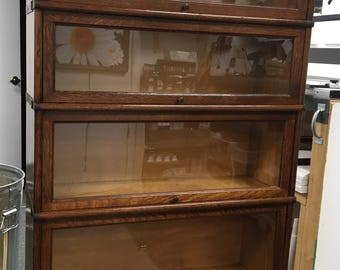 Beautiful antique quartersawn oak Macey 4 stack barrister bookcase 34w58h13d Shipping is not free