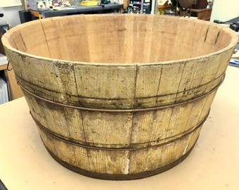 primitive wood wash tub basket original mustard paint 25x13 shipping is not free