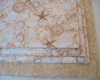Seashell Placemats Reversible Set of  4-6 Placemats Beige Nautical Placemats Seashell Placemats Blue and Tan Shell Placemats Sea Shell Decor