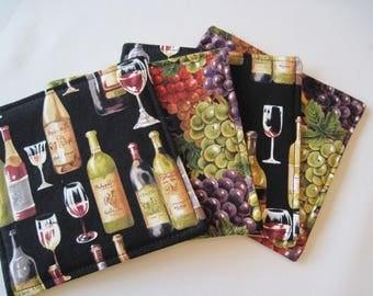 Wine and Grape Coasters 4-6 Wine Bottle Coasters Reversible Wine Grape Mug Rugs Tuscany  Coasters Wine Country Coasters Wine Lovers Gift