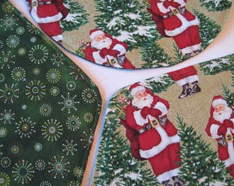 santa wedge placemats reversible set 4 or 6 wedge snowflake placemats wedge christmas placemats for round