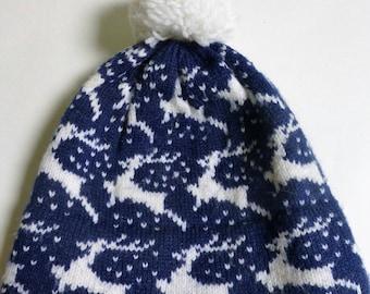 Knit Reindeer Winter Hat