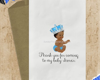 12Pk Royal Prince Baby Boy African American / TURQUOISE SILVER Crown / Candy Buffet Party Favor Bags Baby Shower Birthday (refvntg)