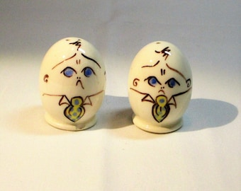 Grumpy Guy Hand Painted Ceramic Salt and Pepper Shakers