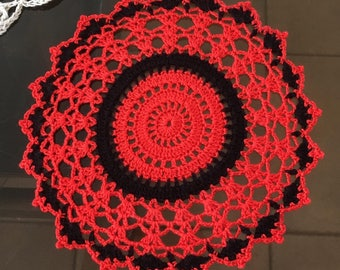 D-101 Red and black Lace Crochet Doily Small Doily Crochet Lace Doily Round Crochet Doily Mother's Day Valentine's Day Birthday