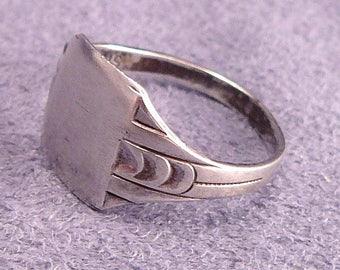 Sterling Signet Ring Clark & Coombs Vintage Silver Engravable Monogram Ring No Monogram