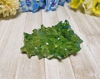 Emerald Lime Green Aura Quartz - Gemstone of Success