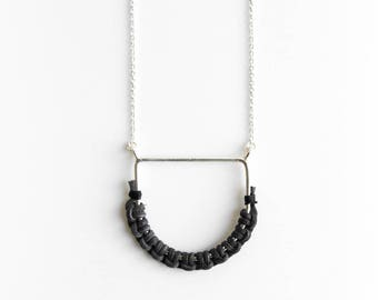 Root Necklace - sterling silver leather pendant D shape