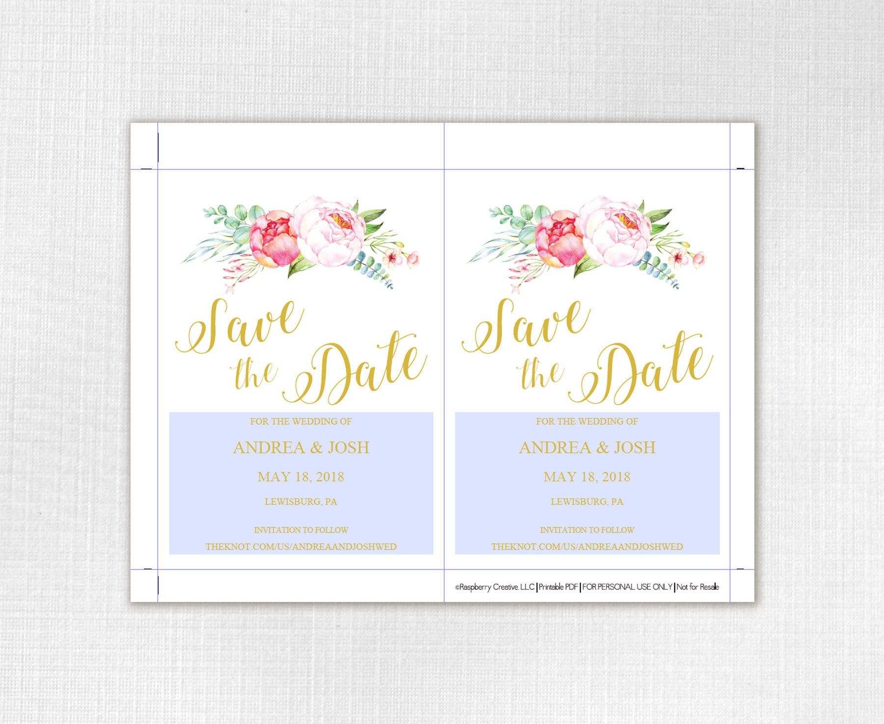 Floral Pink Blush Gold Save the Date Template Printable Floral – Wedding Save the Date Template