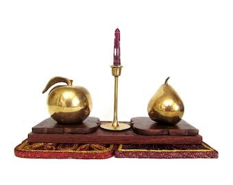 Vintage Large Brass Apple, Shiny Gold Fruit for Holiday Decorating