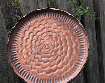 Vintage Round Copper Zinnia Tray